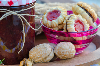 home made raspberry jam with home made healthy cookies